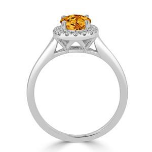 Halo Citrine Diamond Ring in 14K White Gold with 1.00 carat Oval Citrine