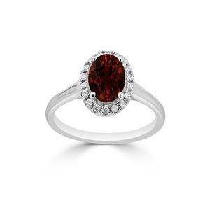 Halo Garnet Diamond Ring in 14K White Gold with 1.00 carat Oval Garnet