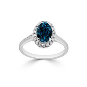 Halo London Blue Topaz Diamond Ring in 14K White Gold with 1.00 carat Oval London Blue Topaz