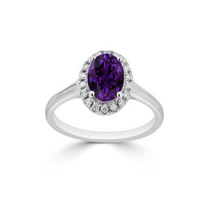 Halo Purple Amethyst Diamond Ring in 14K White Gold with 0.75 carat Oval Purple Amethyst