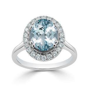 Halo Aquamarine Diamond Ring in 14K White Gold with 1.80 carat Oval Aquamarine