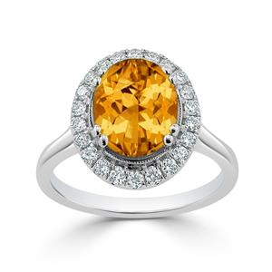 Halo Citrine Diamond Ring in 14K White Gold with 2.60 carat Oval Citrine