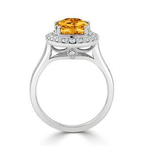 Halo Citrine Diamond Ring in 14K White Gold with 2.60 carat Oval Citrine