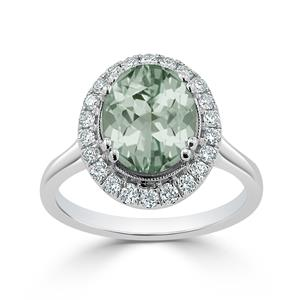 Halo Green Amethyst Diamond Ring in 14K White Gold with 1.80 carat Oval Green Amethyst