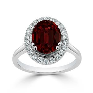 Halo Garnet Diamond Ring in 14K White Gold with 2.60 carat Oval Garnet