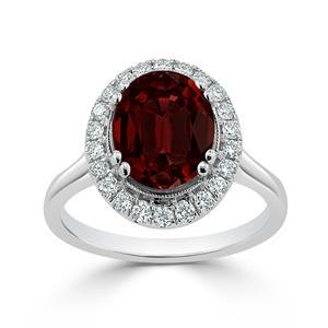 Halo Garnet Diamond Ring in 14K White Gold with 2.60 carat Oval Garnet