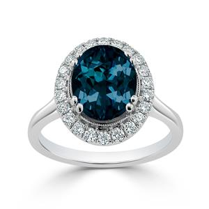 Halo London Blue Topaz Diamond Ring in 14K White Gold with 2.60 carat Oval London Blue Topaz