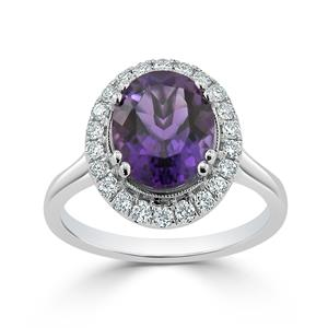 Halo Purple Amethyst Diamond Ring in 14K White Gold with 1.80 carat Oval Purple Amethyst