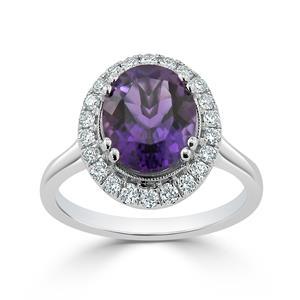 Halo Purple Amethyst Diamond Ring in 14K White Gold with 1.80 carat Oval Purple Amethyst