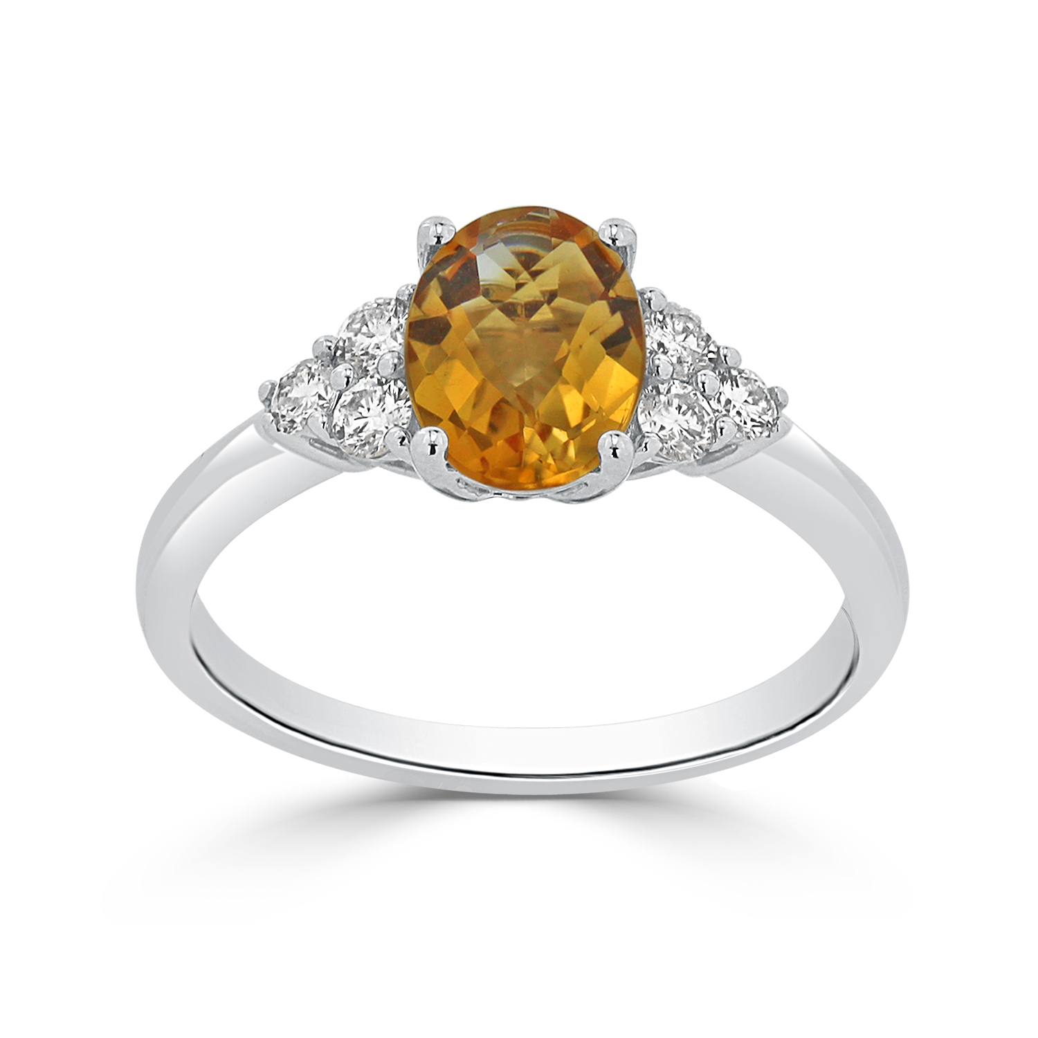 Halo Citrine Diamond Ring in 14K White Gold with 1.00 carat Oval Citrine
