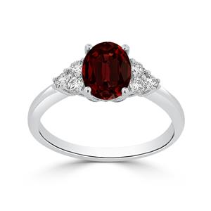 Halo Garnet Diamond Ring in 14K White Gold with 1.00 carat Oval Garnet