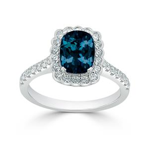Halo London Blue Topaz Diamond Ring in 14K White Gold with 1.30 carat Cushion London Blue Topaz