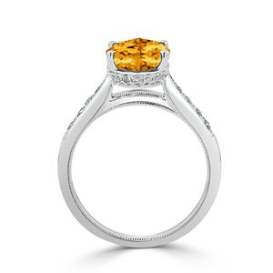 Halo Citrine Diamond Ring in 14K White Gold with 2.90 carat Oval Citrine