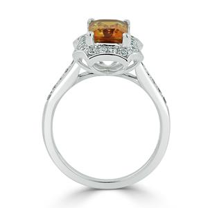 Halo Citrine Diamond Ring in 14K White Gold with 1.75 carat Emerald Citrine