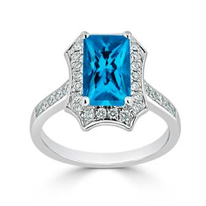 Halo Swiss Blue Topaz Diamond Ring in 14K White Gold with 1.75 carat Emerald Swiss Blue Topaz