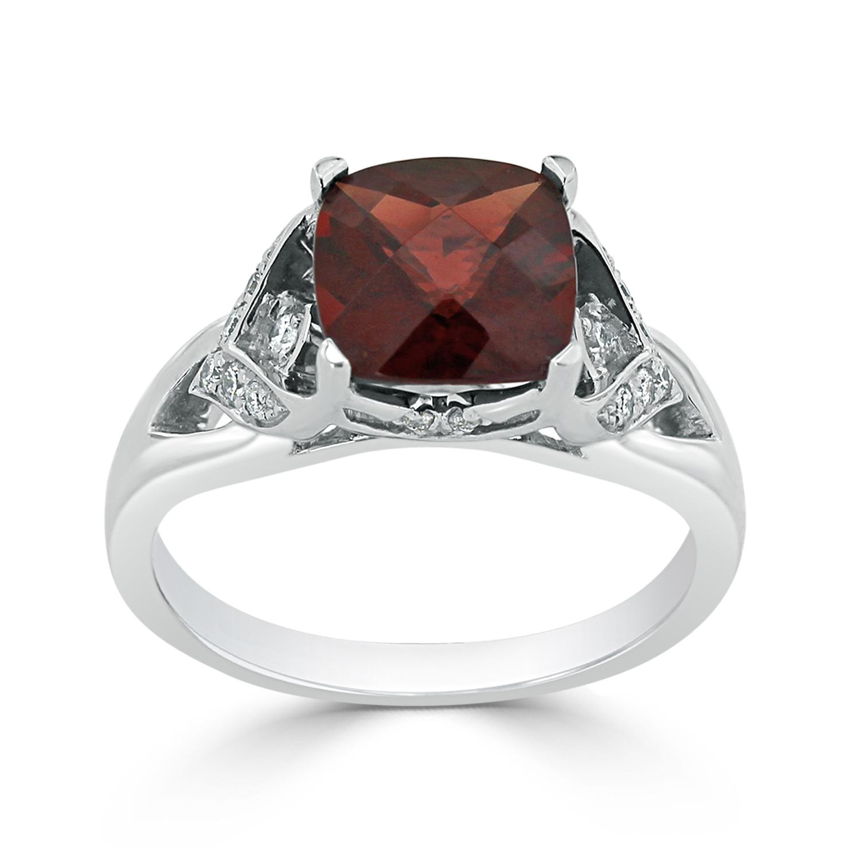 Halo Garnet Diamond Ring in 14K White Gold with 2.30 carat Cushion Garnet