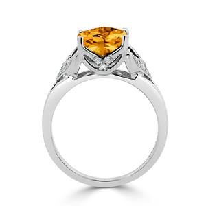 Halo Citrine Diamond Ring in 14K White Gold with 2.30 carat Cushion Citrine