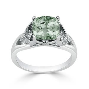 Halo Green Amethyst Diamond Ring in 14K White Gold with 1.65 carat Cushion Green Amethyst