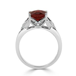 Halo Garnet Diamond Ring in 14K White Gold with 2.30 carat Cushion Garnet