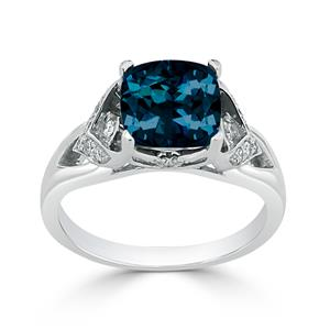 Halo London Blue Topaz Diamond Ring in 14K White Gold with 2.30 carat Cushion London Blue Topaz