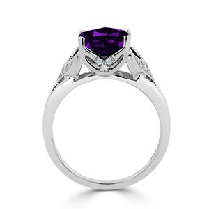 Halo Purple Amethyst Diamond Ring in 14K White Gold with 1.65 carat Cushion Purple Amethyst