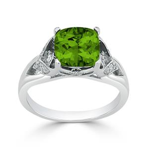 Halo Peridot Diamond Ring in 14K White Gold with 2.30 carat Cushion Peridot