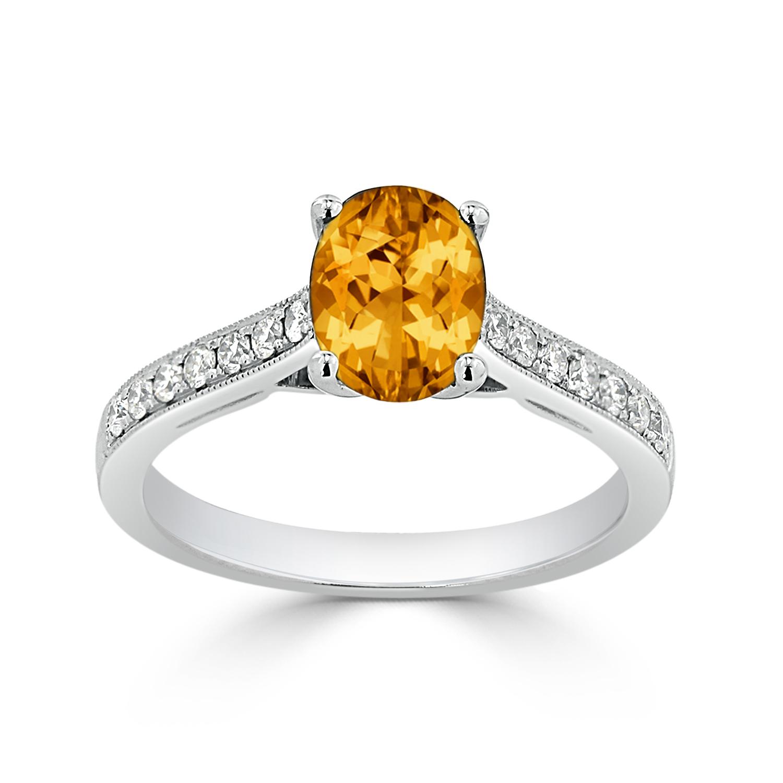 Halo Citrine Diamond Ring in 14K White Gold with 1.10 carat Oval Citrine
