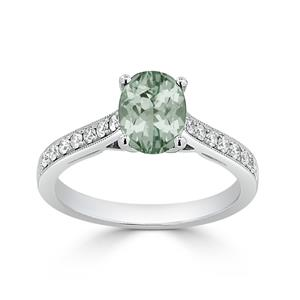 Halo Green Amethyst Diamond Ring in 14K White Gold with 0.75 carat Oval Green Amethyst