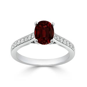 Halo Garnet Diamond Ring in 14K White Gold with 1.10 carat Oval Garnet