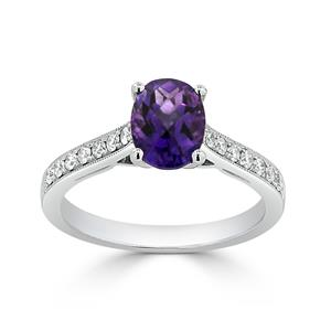 Halo Purple Amethyst Diamond Ring in 14K White Gold with 0.75 carat Oval Purple Amethyst