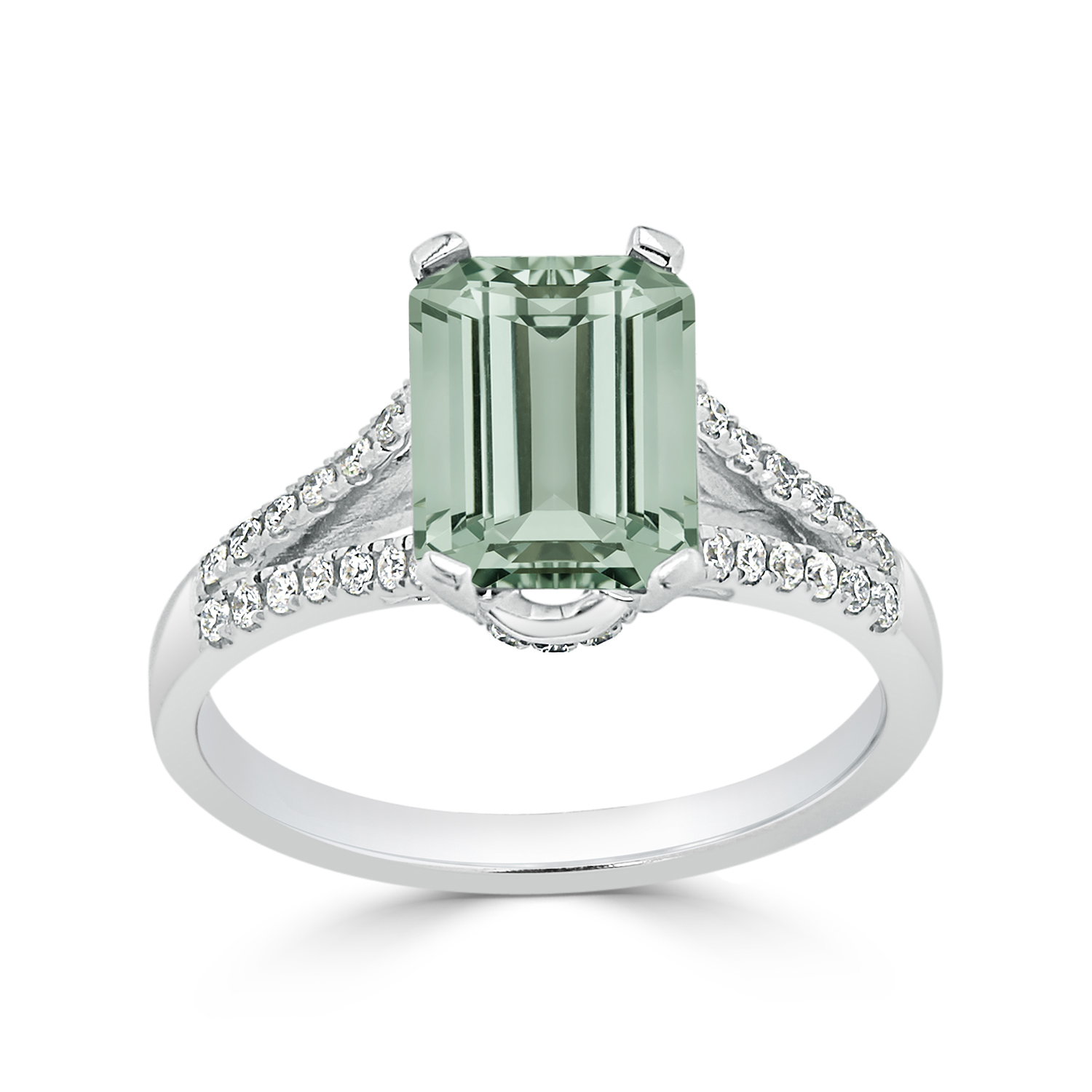 Halo Green Amethyst Diamond Ring in 14K White Gold with 1.50 carat Emerald Green Amethyst