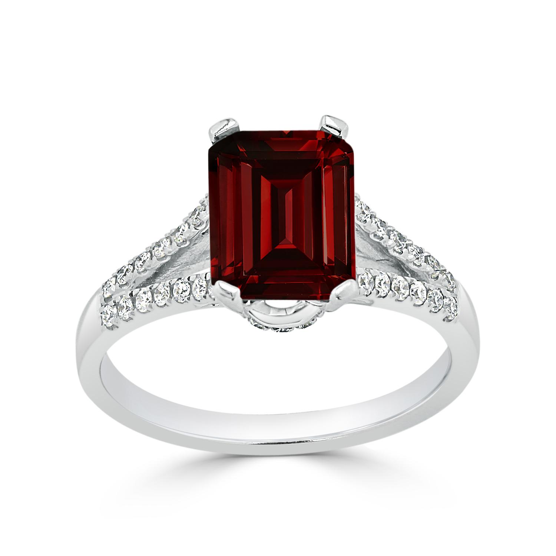 Halo Garnet Diamond Ring in 14K White Gold with 2.10 carat Emerald Garnet