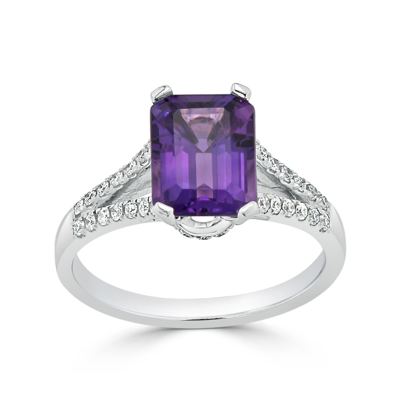 Halo Purple Amethyst Diamond Ring in 14K White Gold with 1.50 carat Emerald Purple Amethyst