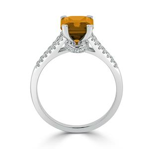 Halo Citrine Diamond Ring in 14K White Gold with 2.10 carat Emerald Citrine