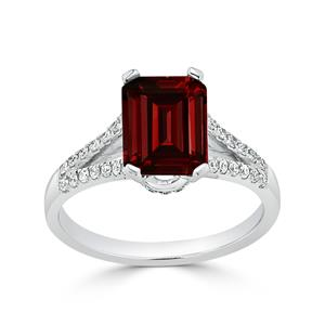 Halo Garnet Diamond Ring in 14K White Gold with 2.10 carat Emerald Garnet