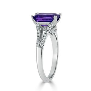 Halo Purple Amethyst Diamond Ring in 14K White Gold with 1.50 carat Emerald Purple Amethyst