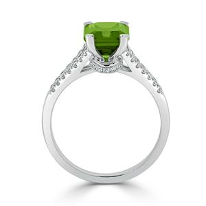 Halo Peridot Diamond Ring in 14K White Gold with 2.10 carat Emerald Peridot
