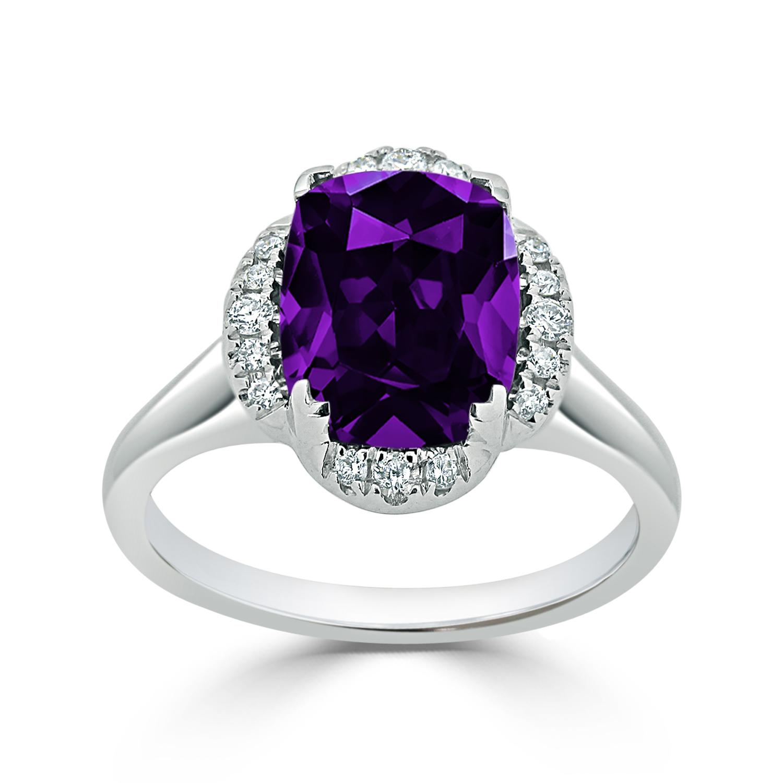 Halo Purple Amethyst Diamond Ring in 14K White Gold with 2.75 carat Cushion Purple Amethyst