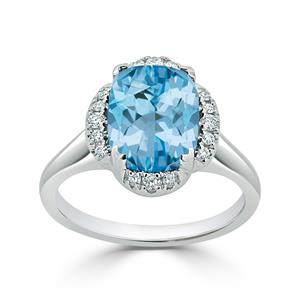 Halo Sky Blue Topaz Diamond Ring in 14K White Gold with 3.90 carat Cushion Sky Blue Topaz