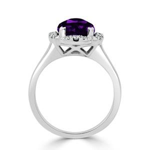 Halo Purple Amethyst Diamond Ring in 14K White Gold with 2.75 carat Cushion Purple Amethyst