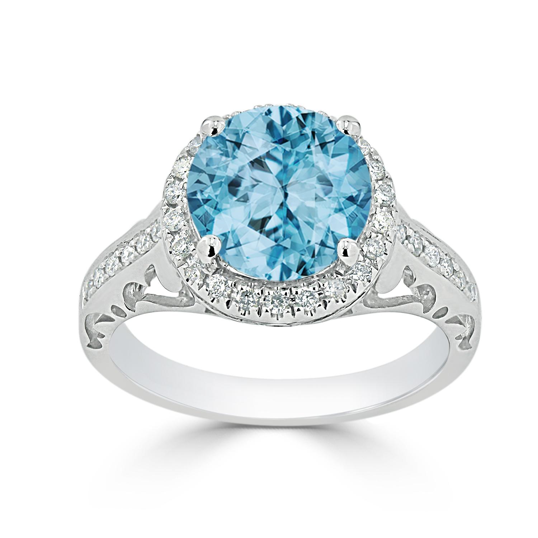 Halo Sky Blue Topaz Diamond Ring in 14K White Gold with 2.50 carat Round Sky Blue Topaz