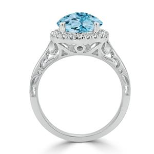 Halo Sky Blue Topaz Diamond Ring in 14K White Gold with 2.50 carat Round Sky Blue Topaz