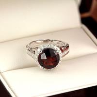 Halo Garnet Diamond Ring in 14K White Gold with 2.50 carat Round Garnet