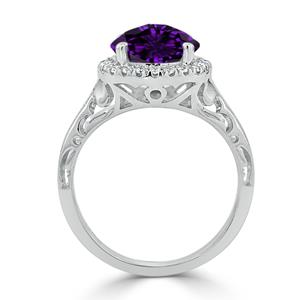 Halo Purple Amethyst Diamond Ring in 14K White Gold with 1.75 carat Round Purple Amethyst