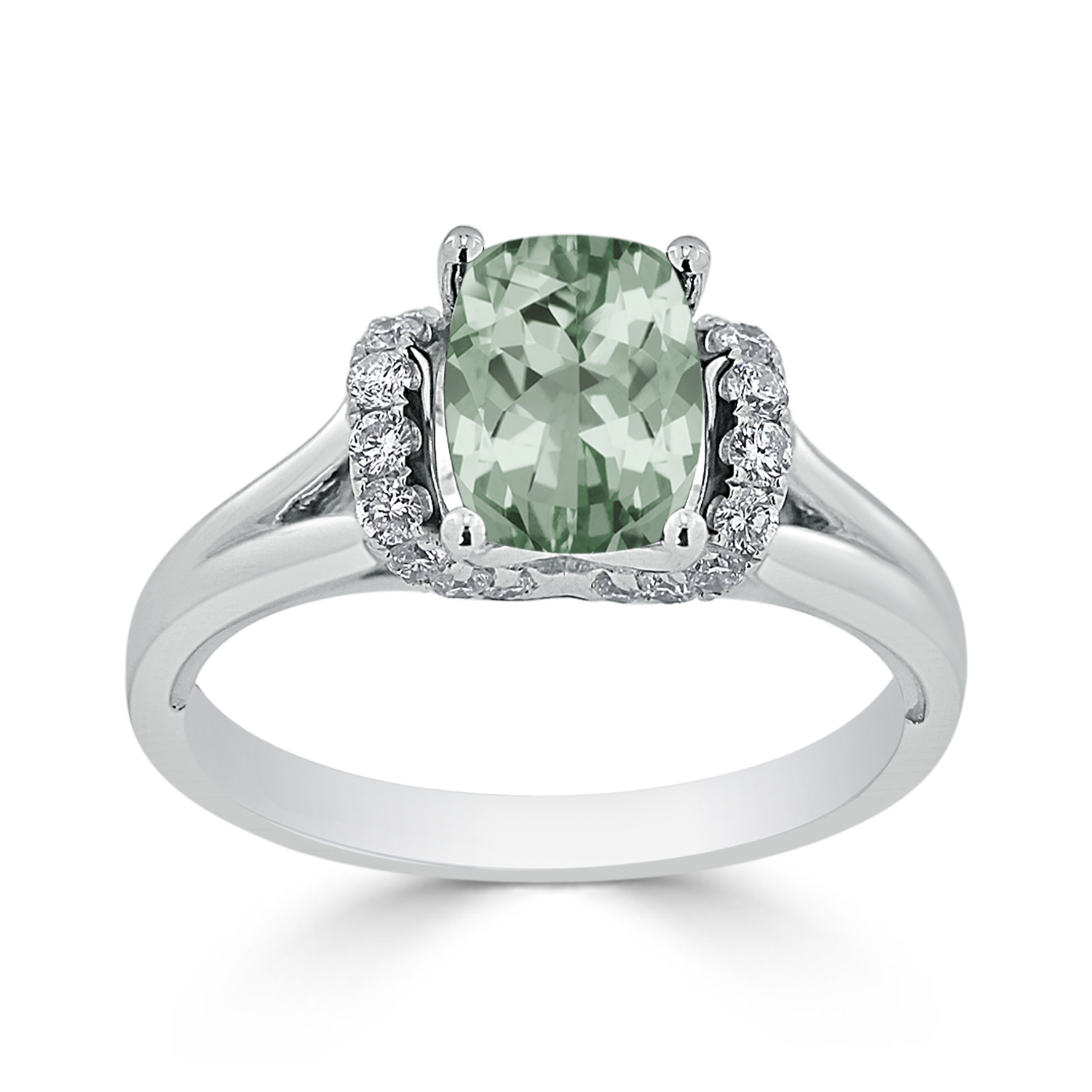 Halo Green Amethyst Diamond Ring in 14K White Gold with 1.20 carat Cushion Green Amethyst