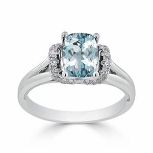 Halo Aquamarine Diamond Ring in 14K White Gold with 1.20 carat Cushion Aquamarine