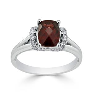 Halo Garnet Diamond Ring in 14K White Gold with 1.75 carat Cushion Garnet