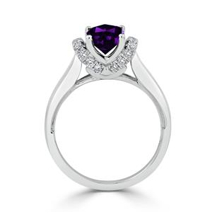 Halo Purple Amethyst Diamond Ring in 14K White Gold with 1.20 carat Cushion Purple Amethyst