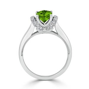Halo Peridot Diamond Ring in 14K White Gold with 1.75 carat Cushion Peridot