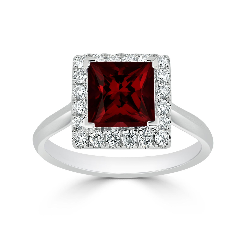Halo Garnet Diamond Ring in 14K White Gold with 1.75 carat Princess Garnet